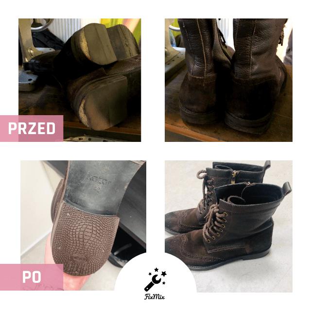 Usługi szewskie - Renowacja obuwia - Przykład Przed i Po - buty wysokie
